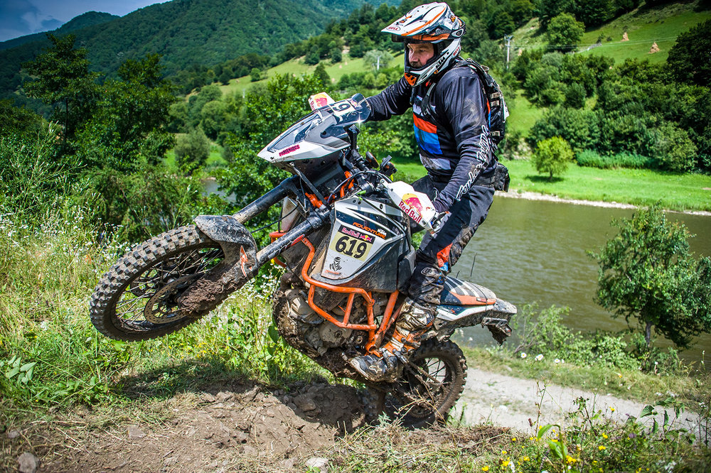 Quinn pushed the KTM 1090 and his body to the limits in the Romaniacs Iron class. Photo: Irina Gorodniakova