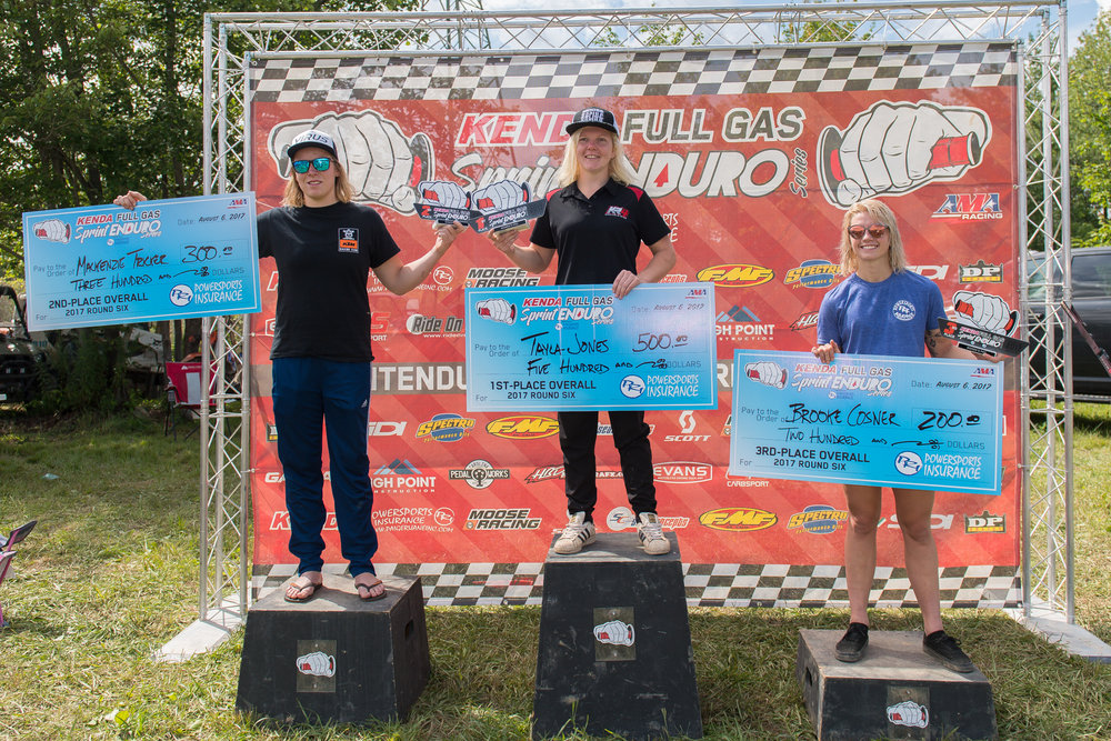 Tayla Jones (center) took the Women's overall ahead of Mackenzie Tricker (left) and Brooke Cosner (right). Photo: Shan Moore.