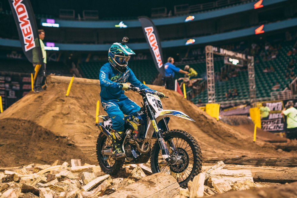 After a brief stint in the GNCC series at the start of the year, Mason Ottersberg is back to the familiar arenas of Endurocross racing. He'll line up aboard a Sherco machine in the 2017 series. Follow:  @masonottersberg  // Photo: Tanner Yeager.