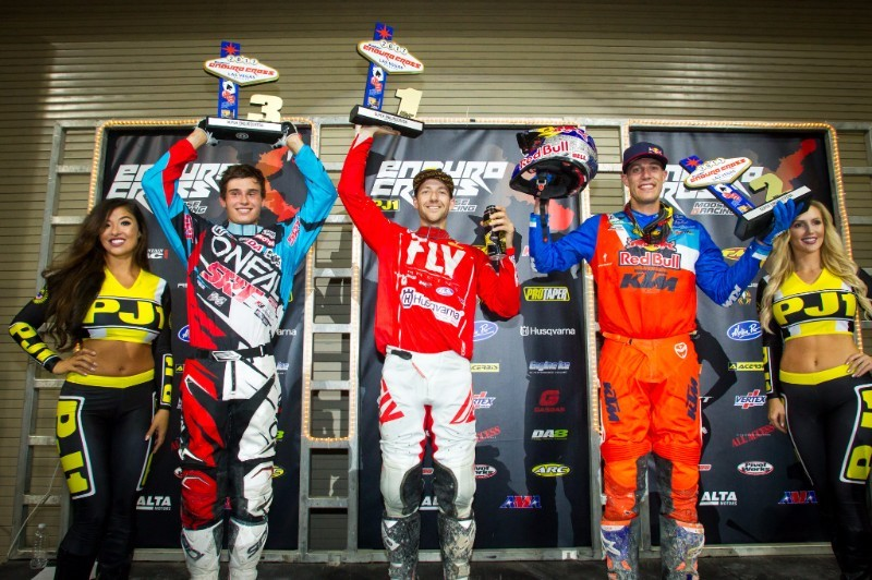 Overall podium (L-R): Trystan Hart (3rd), Colton Haaker (1st), and Cody Webb (2nd). Photo: Adam Booth.