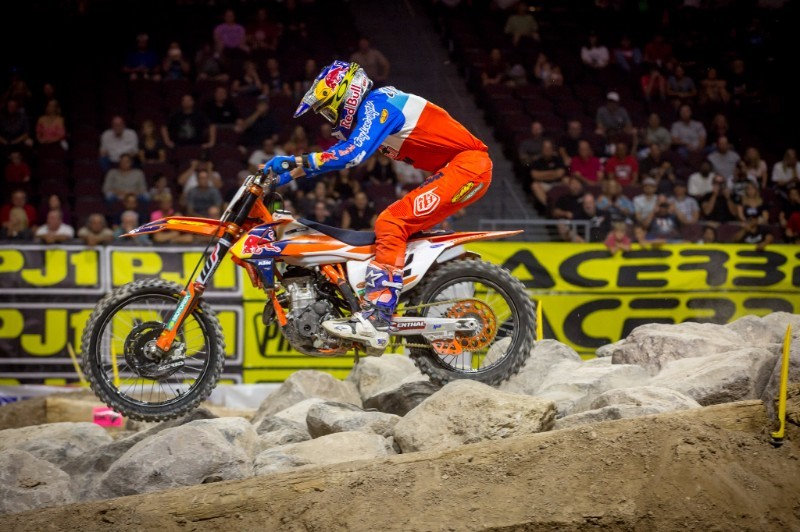 Cody Webb put up a great fight, which made for an exciting night of racing but ultimately came in second. Photo: Adam Booth.