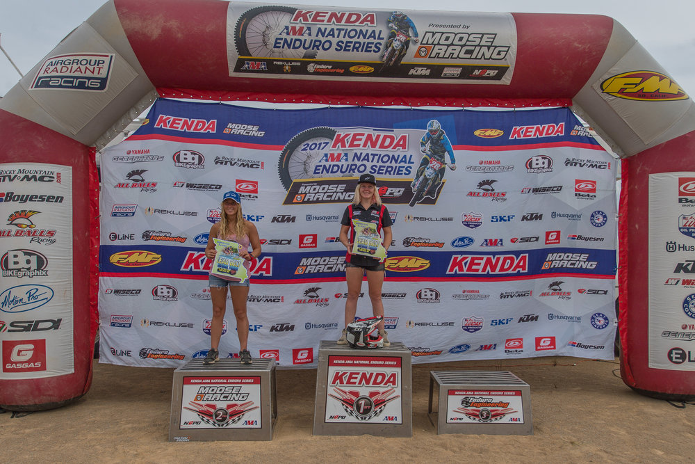 Women's podium (L-R): Taylor Bonecutter (2nd), Tayla Jones (winner) and not pictured Jennifer Sheppard (3rd). Photo: Shan Moore.
