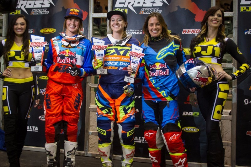 Shelby Turner (center), Tarah Geiger (right) Kacy Martinez (left) earned the Women's class podium potions on the tough Reno course. Photo: Adam Booth.