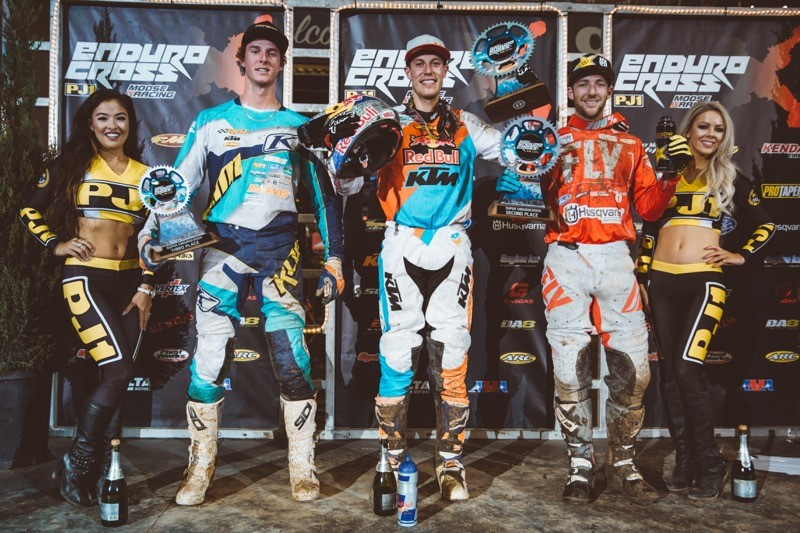Webb (center), Haaker (right) and Tremaine shared the podium in Denver. Photo: Tanner Yeager.