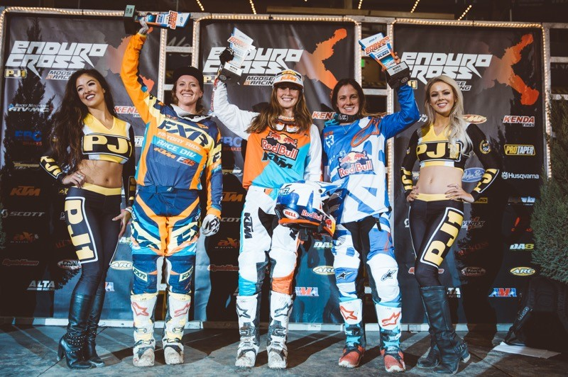 Kacy Martinez (center), Tarah Geiger (right) Shelby Turner (left) earned the Women's class podium spots after battling the Denver course. Photo: Adam Booth.