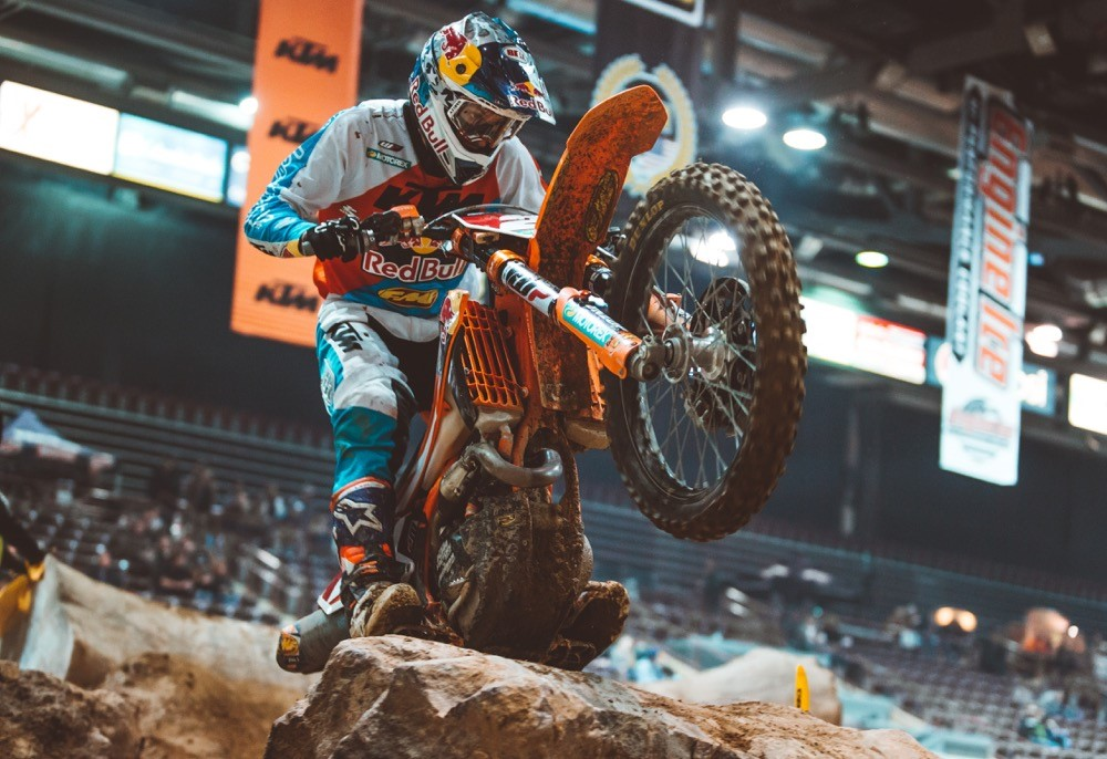 Cody Webb took his fifth straight EnduroCross main event win on his FMF KTM in Boise. Photo: Tanner Yeager.