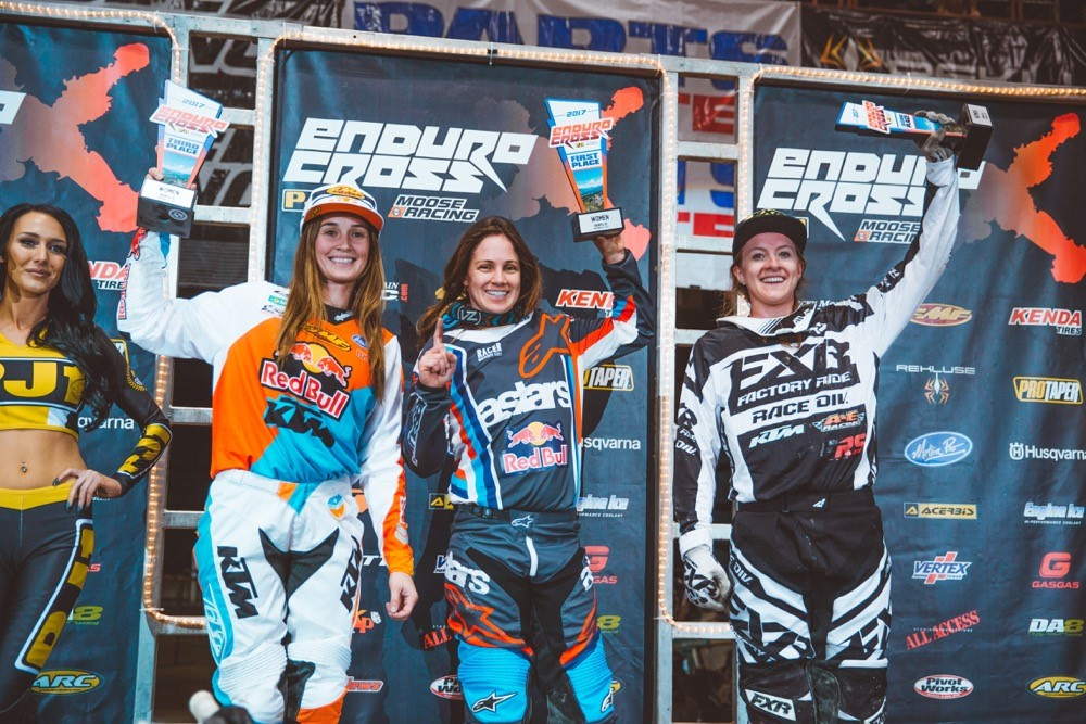 Tarah Gieger (center), Shelby Turner (right) and Kacy Martinez (left) shared the women's podium in Idaho.Photo: Tanner Yeager.