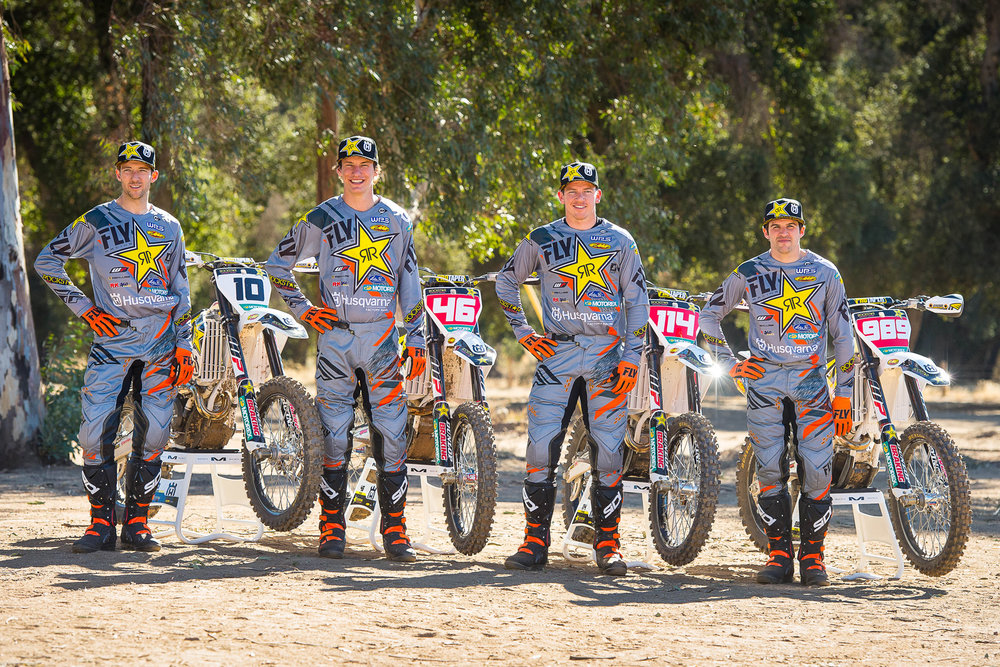 Rockstar Husqvarna returns with Colton Haaker, Josh Strang, and Thad Duvall and adds Dalton Shirey (46) on the west coast. Photo: Husqvarna/Simon Cudby.
