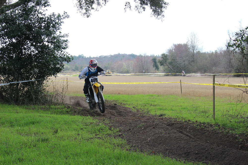Team YOC rider Jarrod Arnold before he was stuck up to his seat in a rut.
