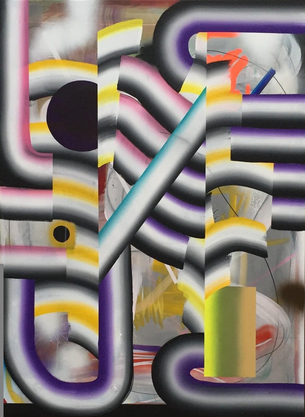Kosmisk veiskille Akryl, tusj og spray på lin 150 x 110 cm