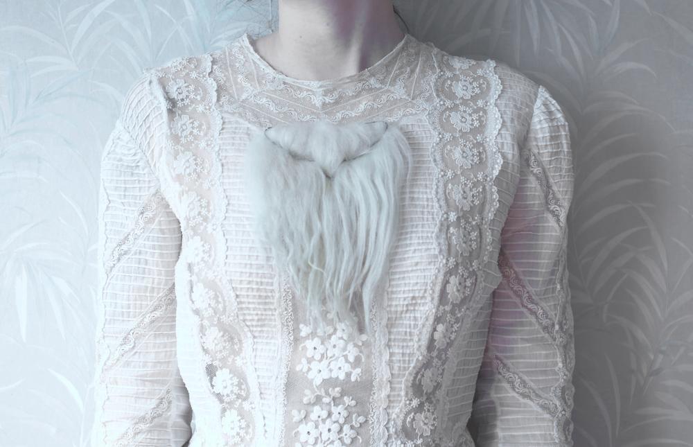 Silence of the Lamb  Icelandic sheep hair, steel, thread 2015