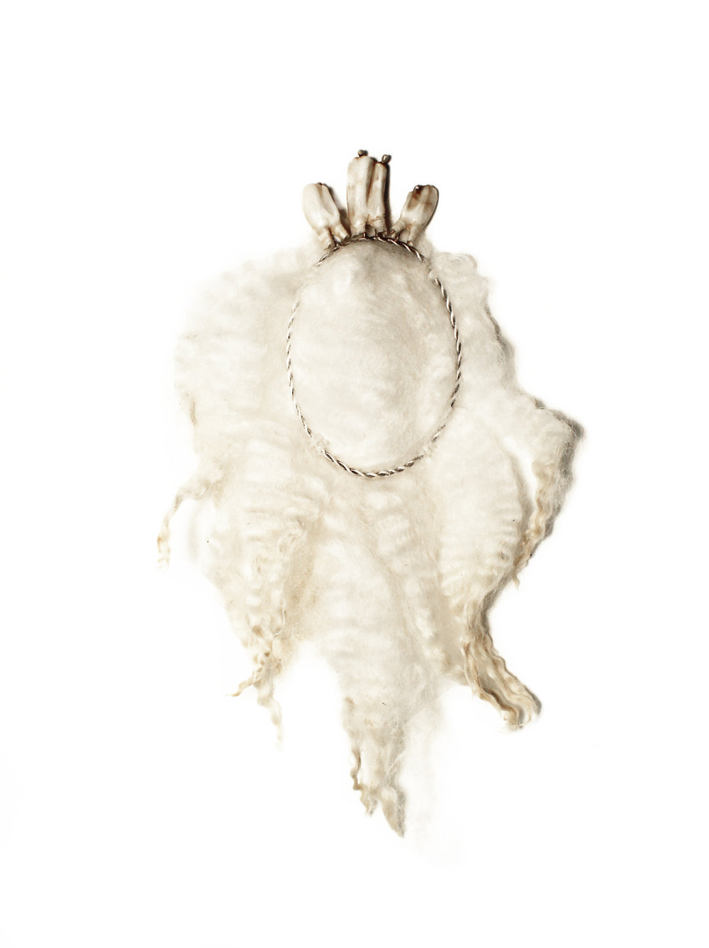 Silence  sheep wool, sheep teeth, silver, steel