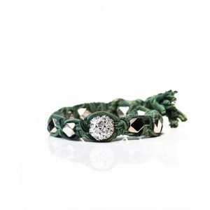 Shut Up I Love This Ettika Green Rhinestone Solitaire Vintage Braided Bracelet