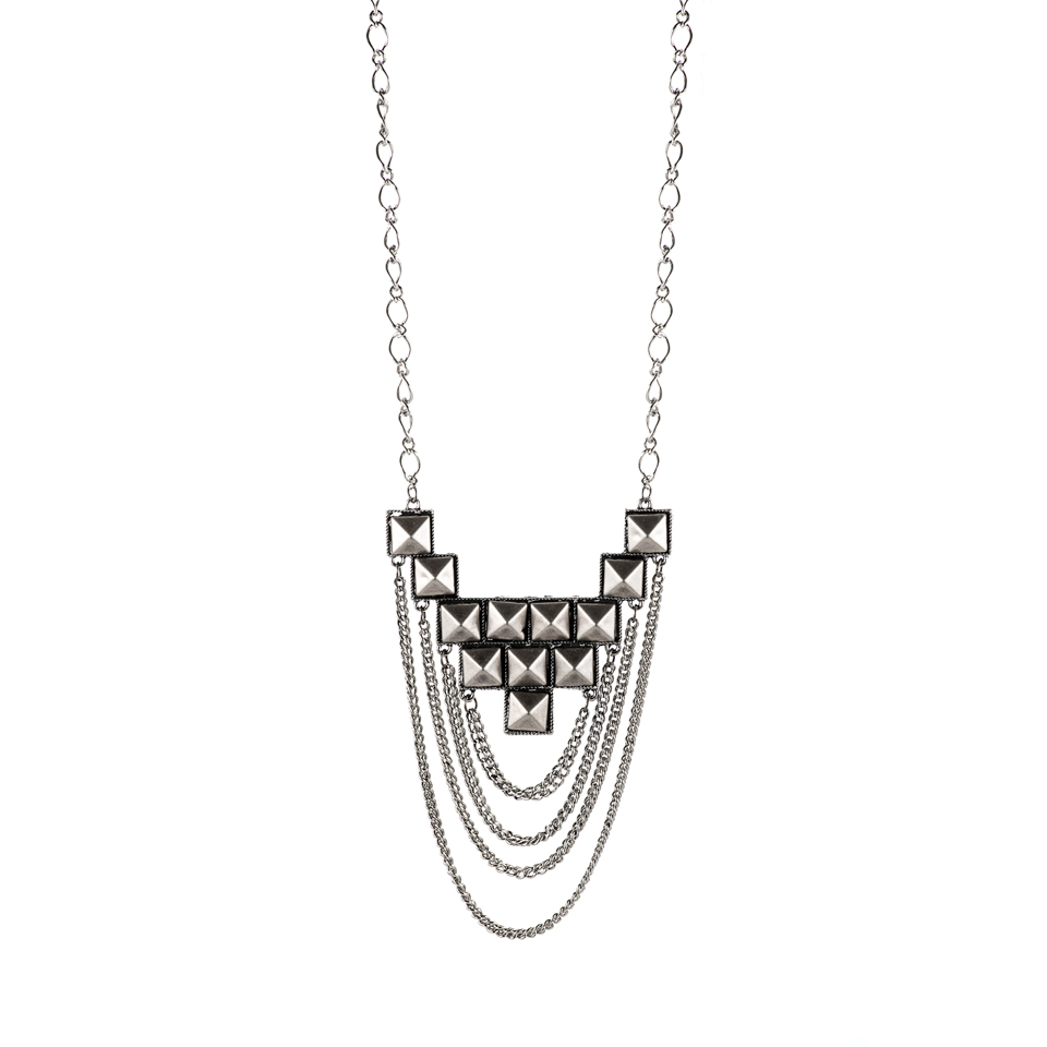 Shut Up I Love This Birds of a Feather Silver Studded Pyramid Necklace