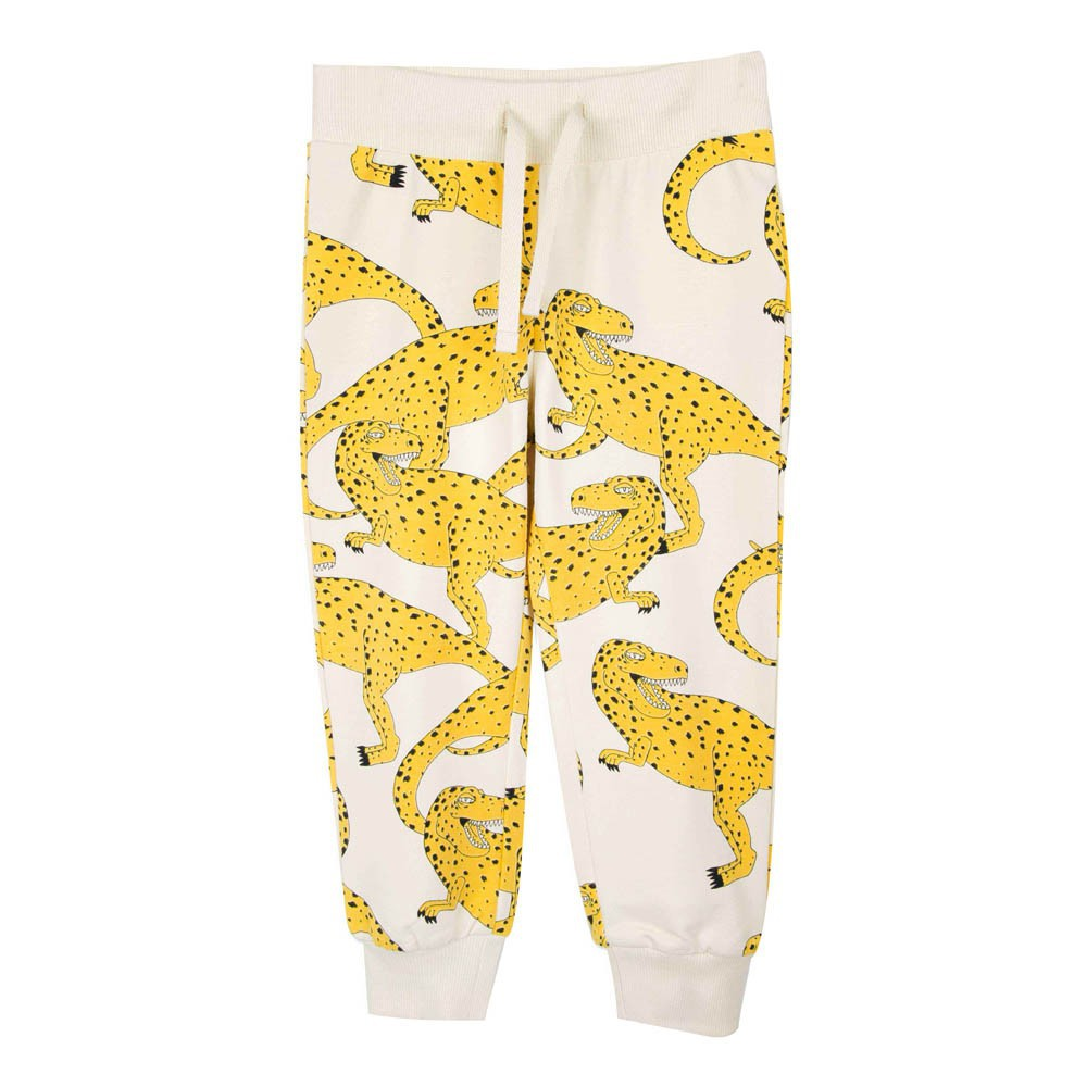 MINI RODINI All Over T-Rex Organic Cotton Joggers Yellow