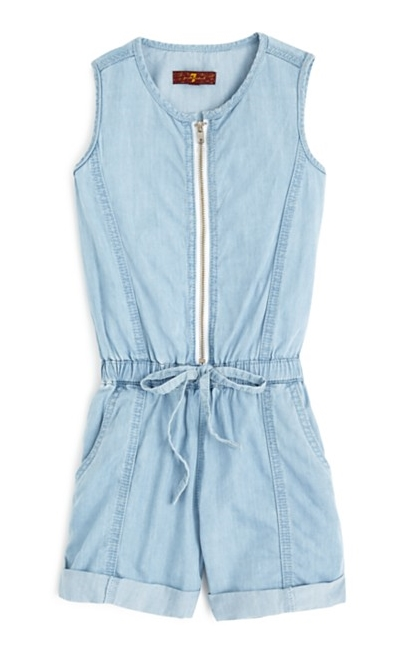 7 For All Mankind Girls' Sleeveless Chambray Zip Front Romper