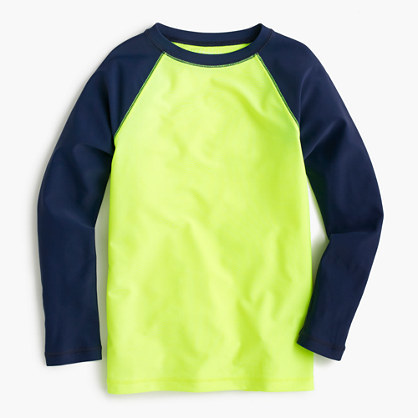 JCREW: Boys' rash guard in neon baseball