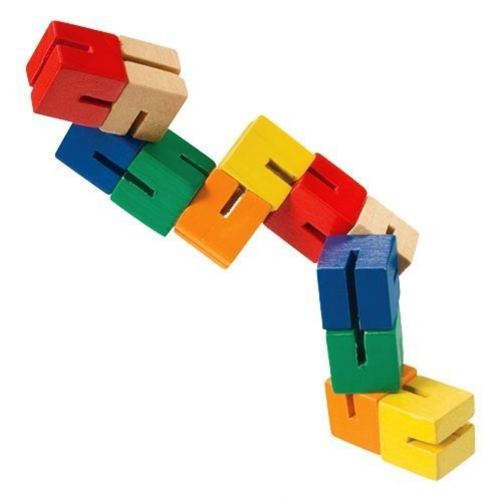 Toysmith Wood Fidget Puzzle $4.91 - These fun little fidgets can be arranged and twisted in thousands of shapes. Twelve little colorful half-inch blocks are connected together by heavy-duty elasticized string.