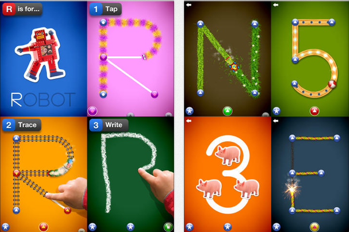 Letter School - Teach pre-writing skills with using a dot-to-dot activity. Add musical feedback and fun visuals, and kids are working on writing their way through a wacky alphabet.