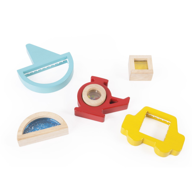 Guidecraft Sorting Vehicles - Beautiful, colorful, wooden Sorting Vehicles are the perfect way to teach color and shape-matching while stimulating fine motor and sensory skills. These vehicle-shaped blocks have inset sensory blocks, displaying sand, water and beads through framed acrylic windows. The colorful, wooden vehicles feature a nylon grip to create friction, keeping the blocks steady during play and building muscles in little hands.