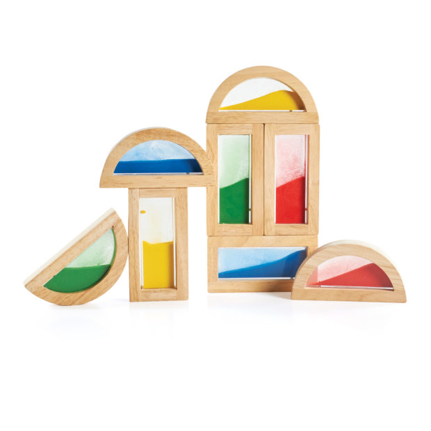 Guidecraft Rainbow Sand Blocks - Your child can combine these blocks filled with colorful sand to form new colors and sounds, or stack the blocks in a different order each time to form new and exciting shapes.