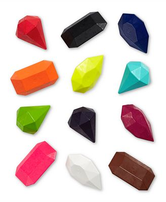 Gem Jackpot - Gem Jackpot: For the little learners who are ready for exploring lines, shading, and shapes, this assortment of Gem-shaped crayons builds on the Rock Crayon concept but challenges kids to move their fingers in different ways to get a different kind of line. I love that each gem is a little different, which adds a fine motor challenge for developing grasp patterns. For users who need to use adaptive grasps like whole hand, pronated, or fisted grasps because of motor disabilities, both the rock and gem crayons are large enough to allow for extra fingers or whole hands to stabilize them.
