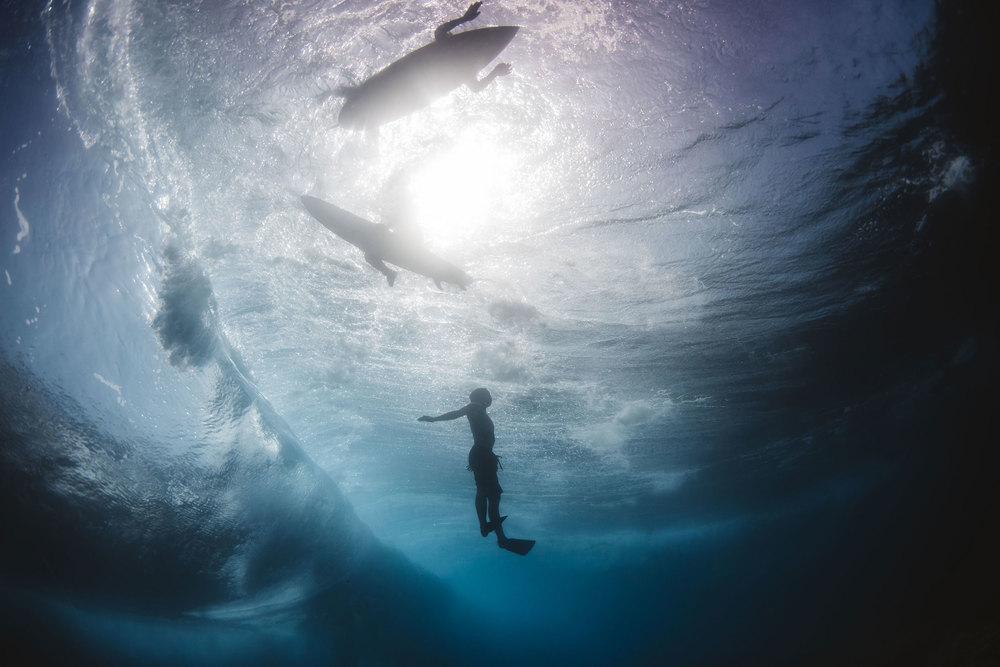 below the waves