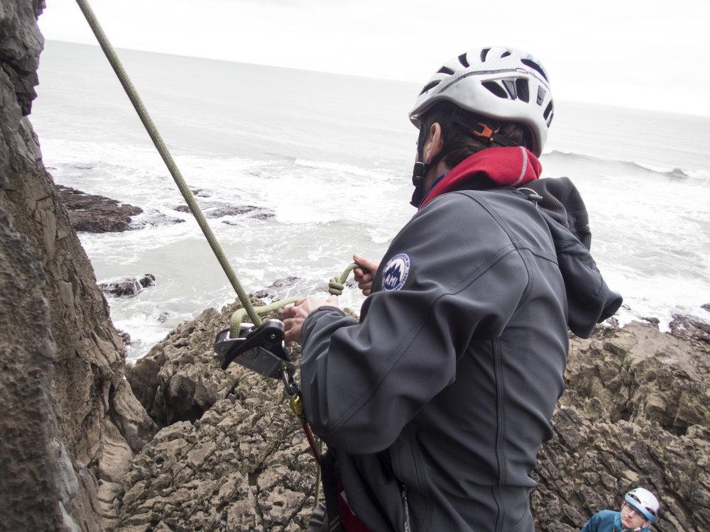 Matt demonstrates one method of rescuing a stuck climber.