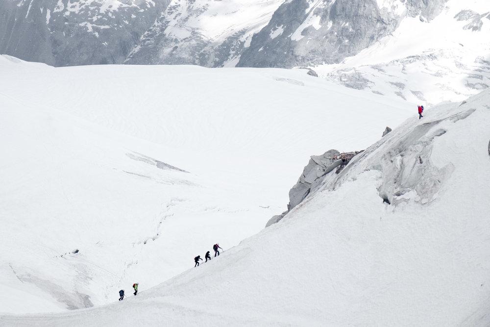 Knife-edge ridge from Aiguille Du Midi.