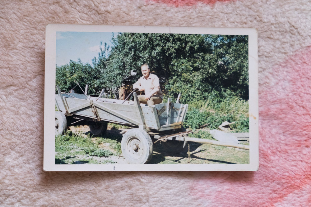 Dziadek on his visit to the farm.