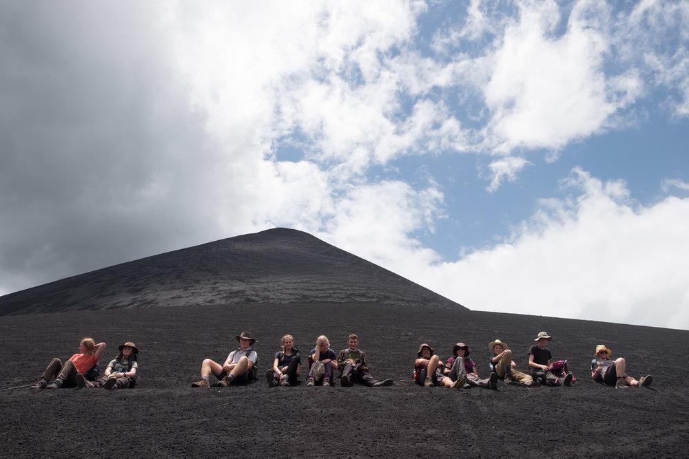 Tough trekking on the volcanic sands of Cero Negro, Nicaragua.