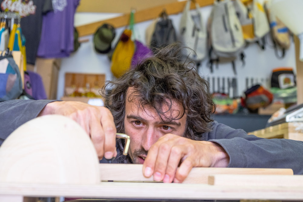 Andrej puts the finishing touches to a custom training board.