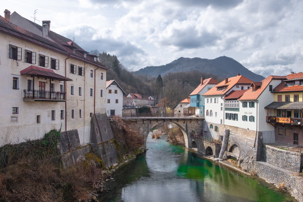 the 14th Century Capuchin Bridge, Skofja Loka.