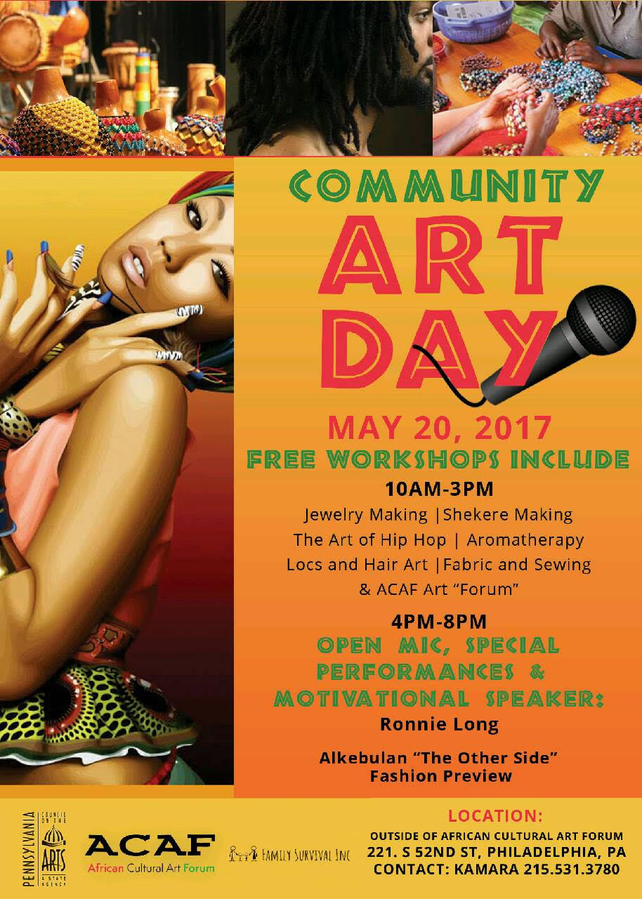 CommUnityArt Day May 20th. 10am - 8pm - www.acaf.us