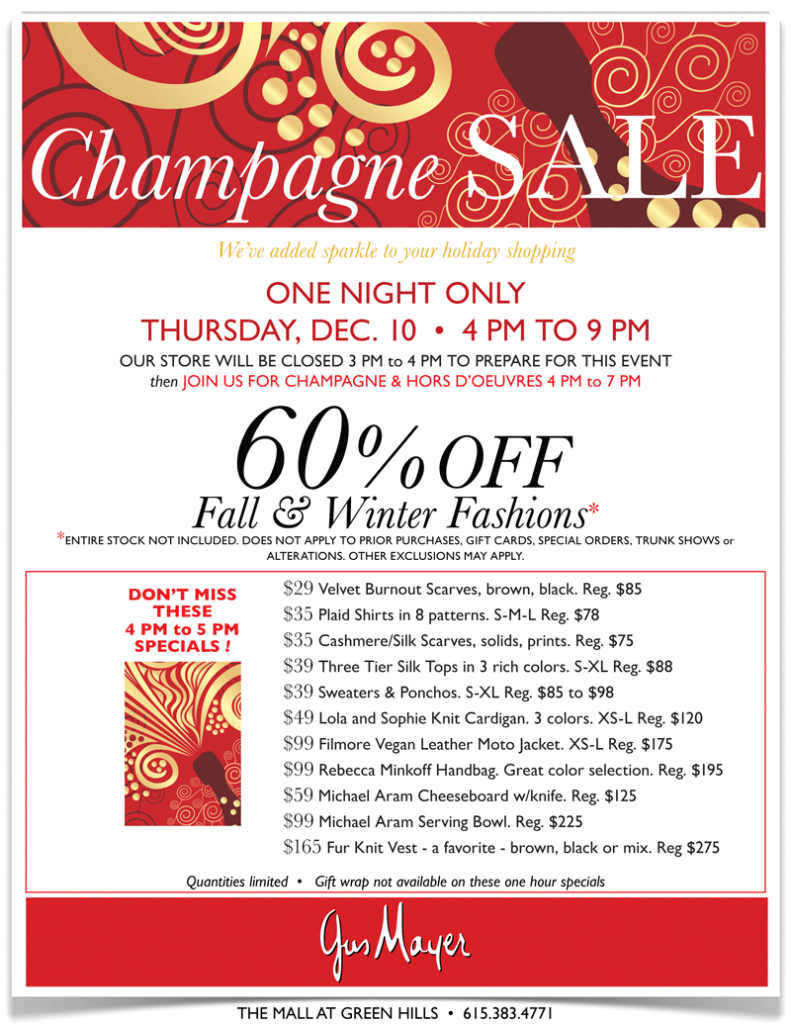 Gus Mayer Champagne Sale