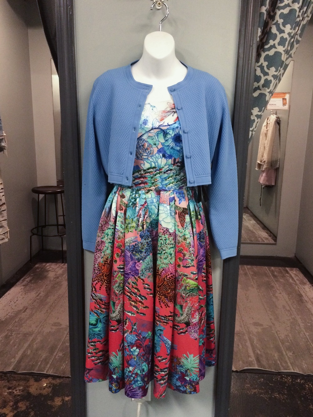 Mary Katrantzou Dress Originally $3600 Now $1080 and Gucci Sweater Originally $1350 Now $405_Photo by Stella Shops.jpg