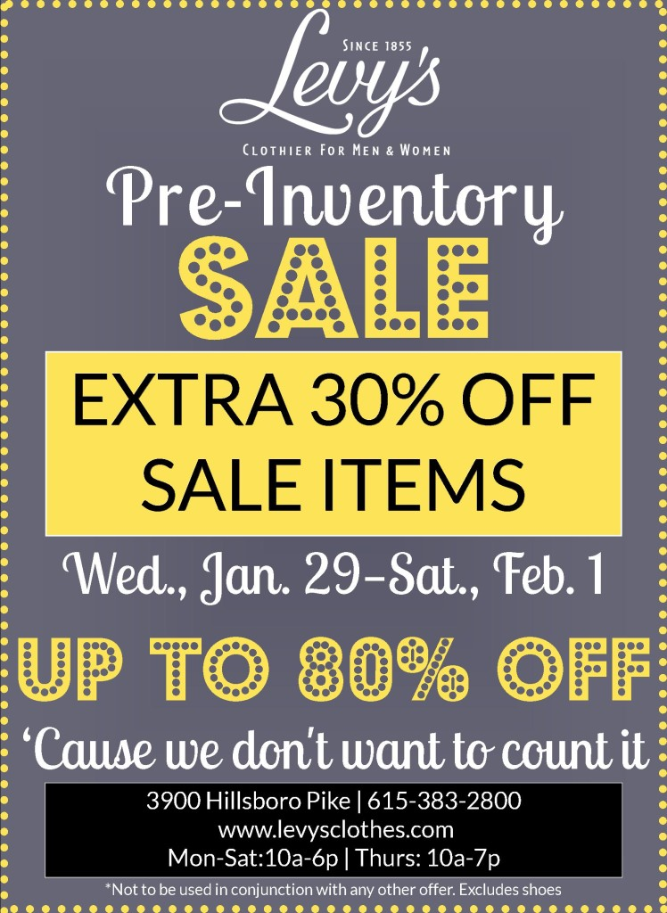 Levys pre inventory sale