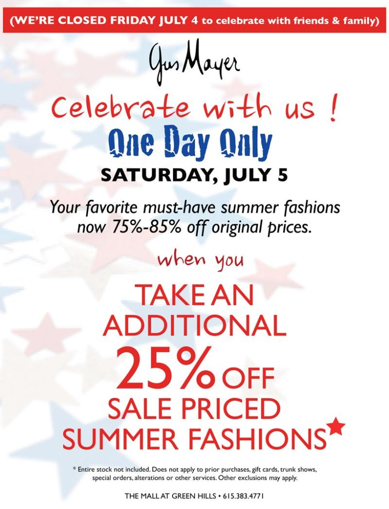 Gus Mayer July 4 sale