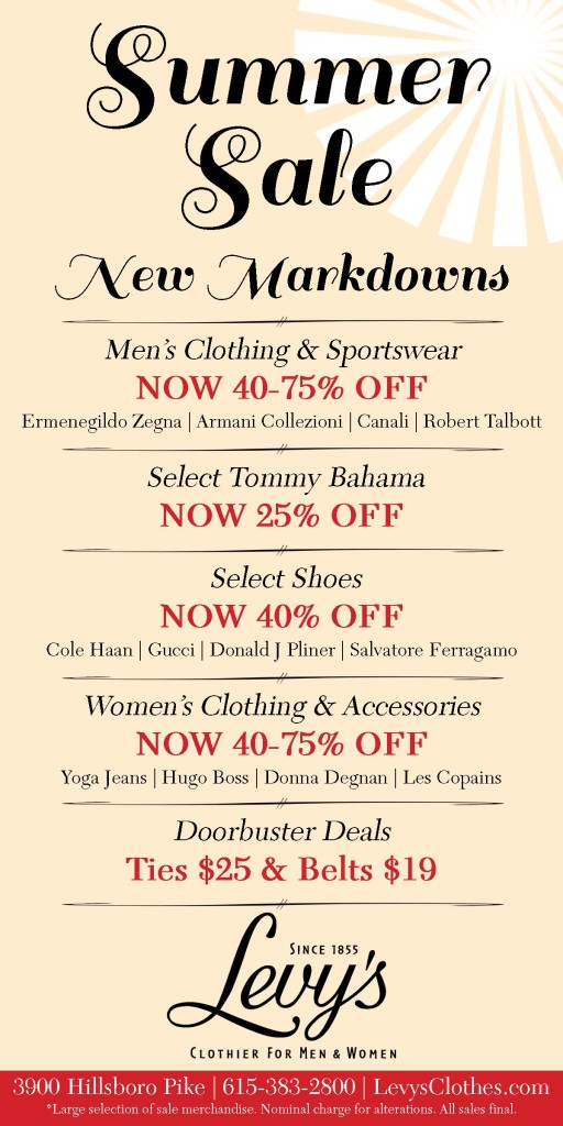 Levys summer markdowns