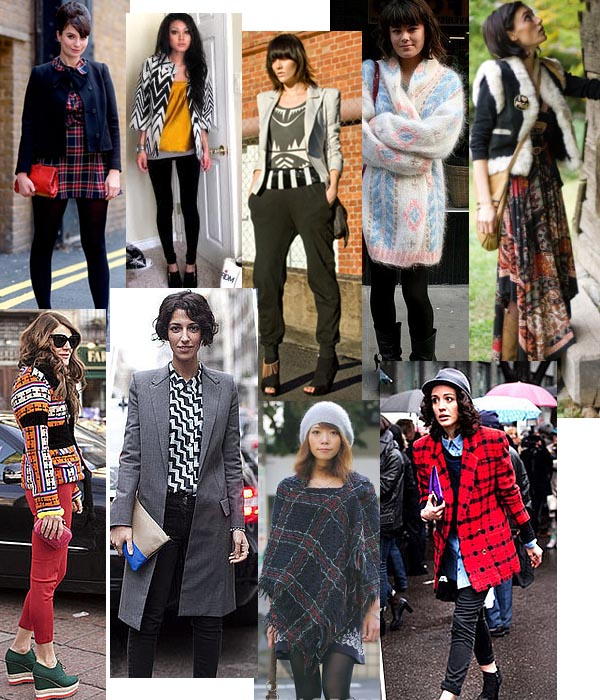 images of women on the street in street style graphic and print outfits