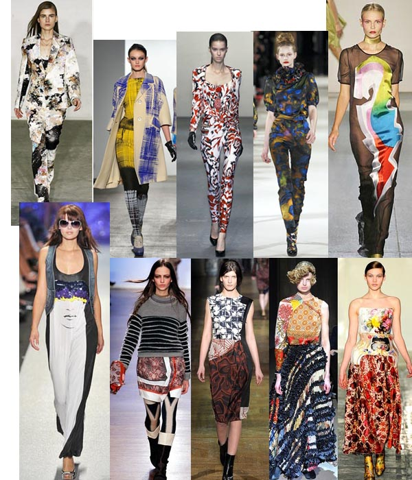 images of women on the fashion runway in graphic and prints clothes