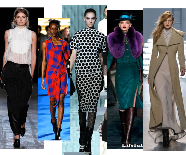 Five shots from runway shows showing top 5 trends for fall fashion 2011