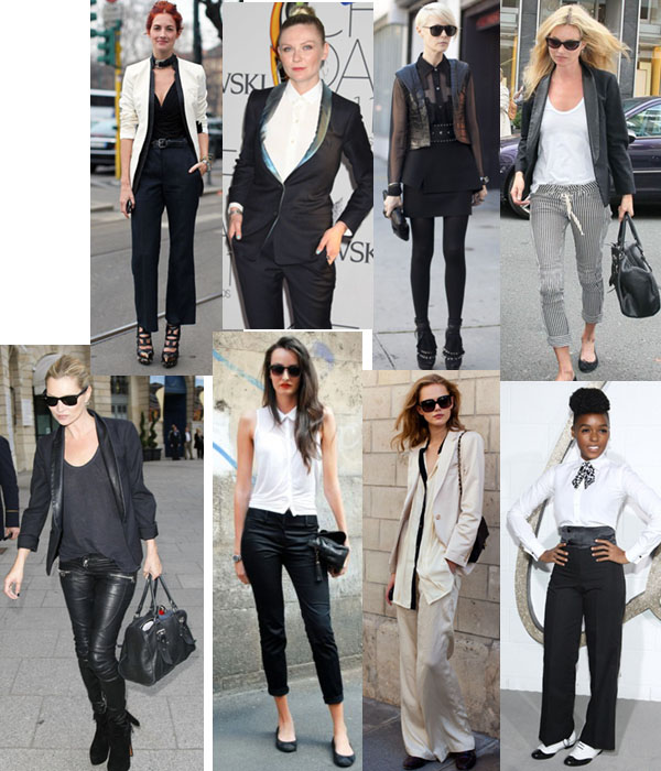 images of women in tuxedo style outfits