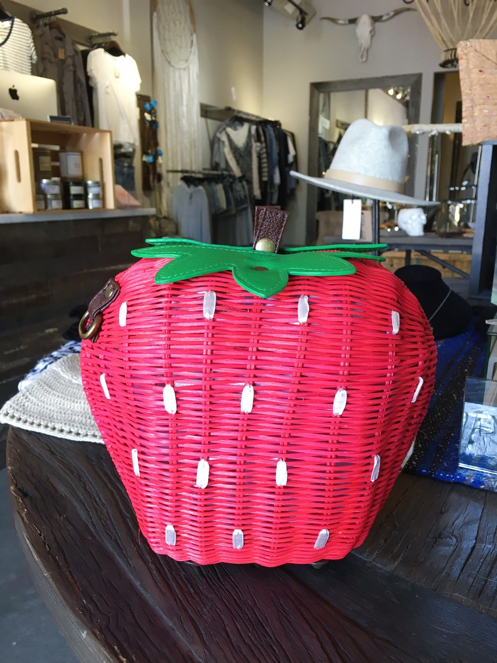 Woven Rattan Strawberry Bag