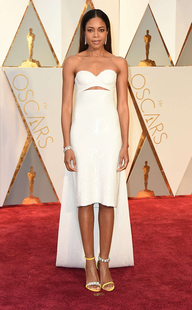 Love the bead work and the mismatched shoes. Naomi Harris in Calvin Klein