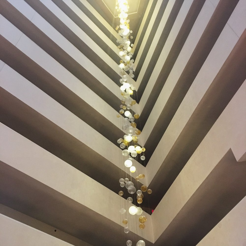 Lobby lights at the Hilton Tysons Corner