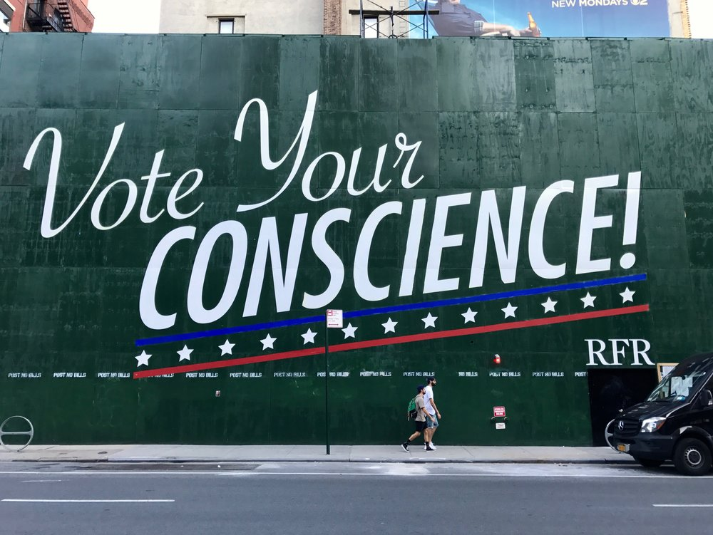 Vote Your Conscience  Saw this while I was walking through Noho. Did a quick Google search and found  this info  on it.