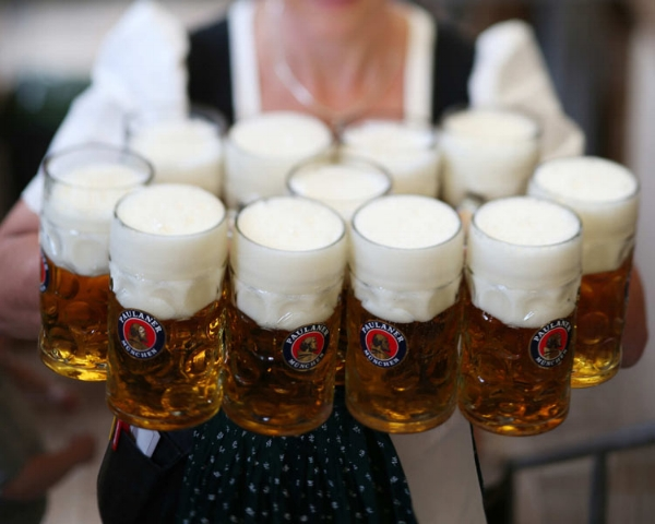 Beautiful Frothy Steins of Paulaner