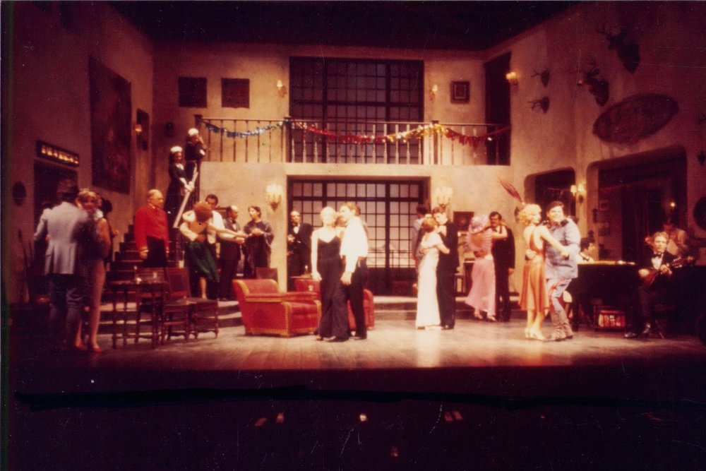 "my first professional job, at Williamstown. I played the 2nd Alpine maid in ""idiot's delight."" I'm standing on the stairs"
