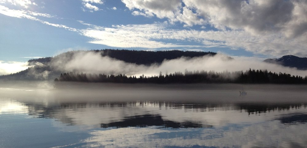 View of morning mist from Keene Channel Lodge